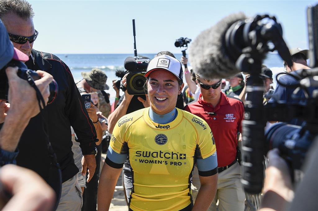 Tyler Wright of Australia won the Swatch Women's Pro by defeating fellow Australian and 6x WSL World Champion Stephanie Gilmore in the final at Lower Trestles on September 14, 2016, at San Clemente, California, USA. PHOTO © WSL/Rowland